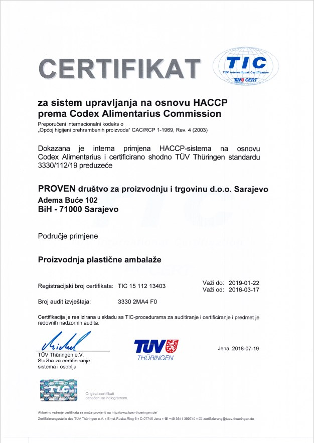Certifikat za sistem upravljanja na osnovu HACCP