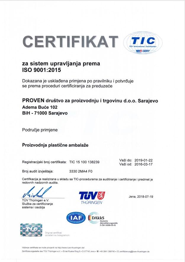 Certifikat za sistem upravljanja prema ISO 9001:2015